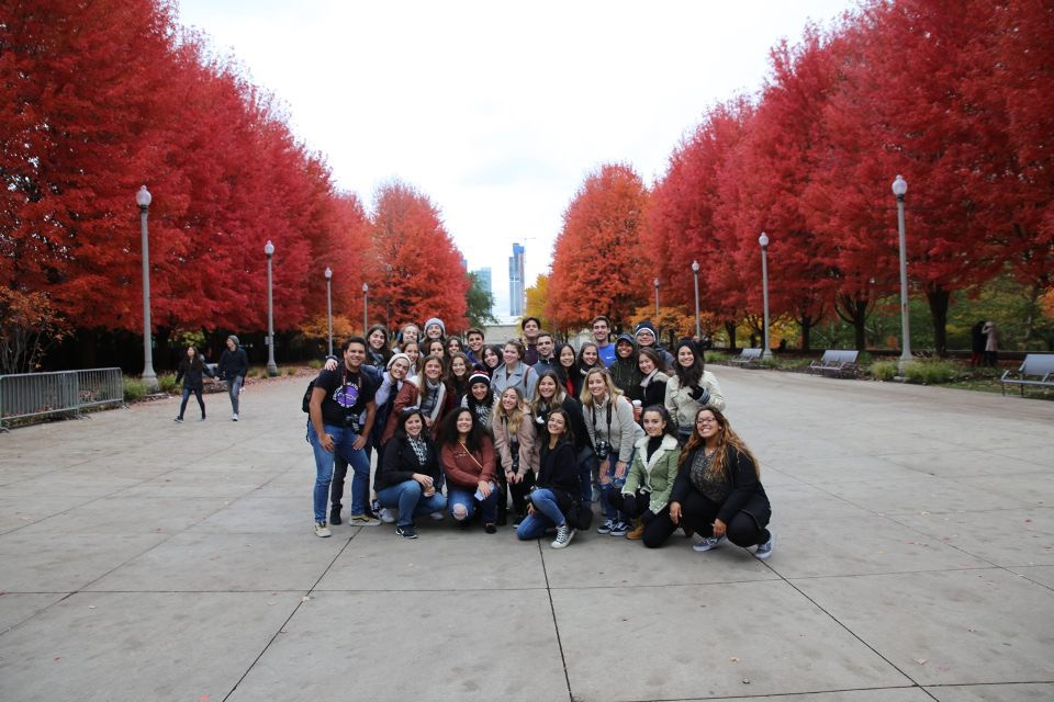 The CAF&DM students posed for a picture in Millennium Park, where they got to experience the true colors of fall.
