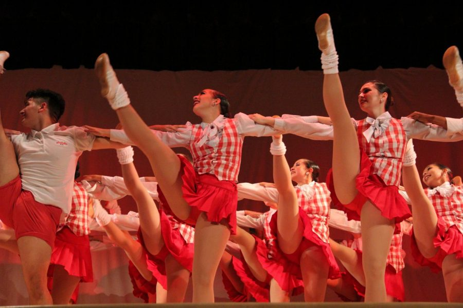 The Gablettes performed in their traditional red-and-while costumes and danced their iconic line-kick during this year's Fall Frolics event.