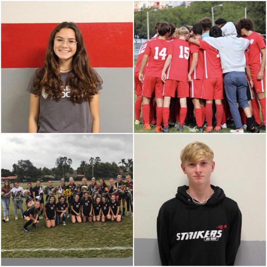 Sophomore+Nina+Montero+%28left%29+with+her+teammates+last+year+after+senior+game+and+junior+Jason+Wood+%28right%29+huddling+alongside+teammates+before+beginning+a+soccer+game.+