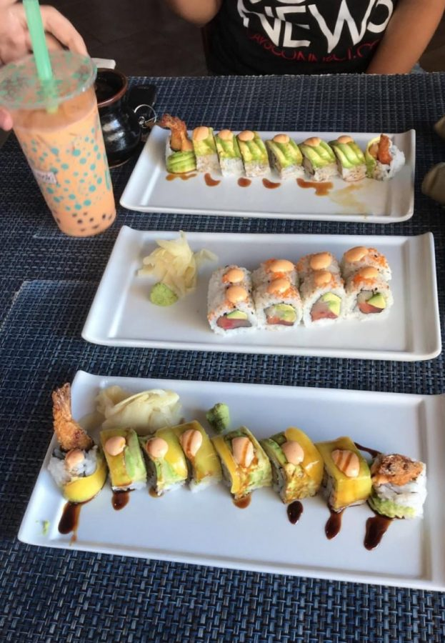 Dragon roll, Whole Foods roll, Budda Cane Roll and Boba Tea from Sushi Maki.