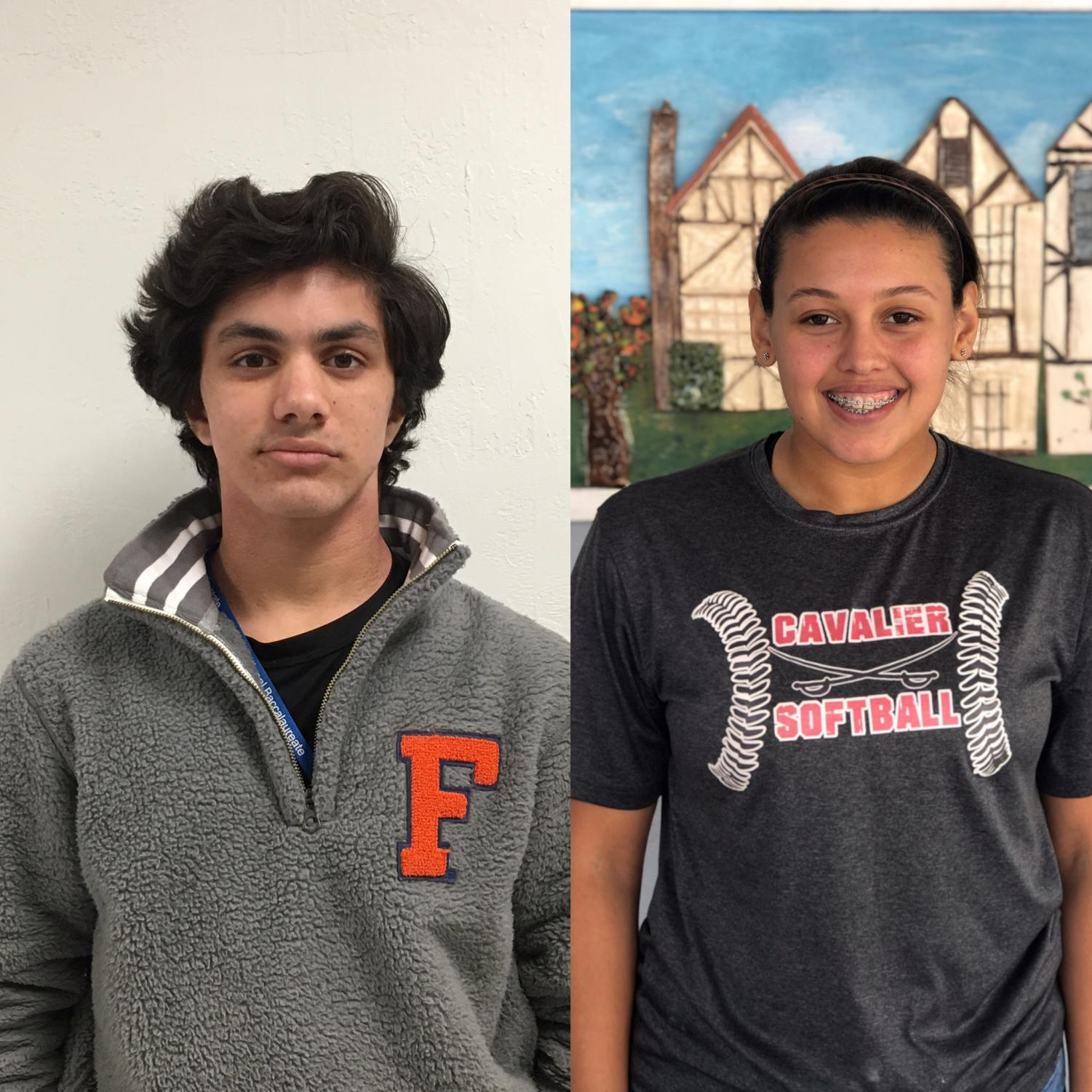 The two athlete spotlights, AJ Vazquez and Angelina Bonilla, for the time spanning between Jan. 7 and Jan. 18.
