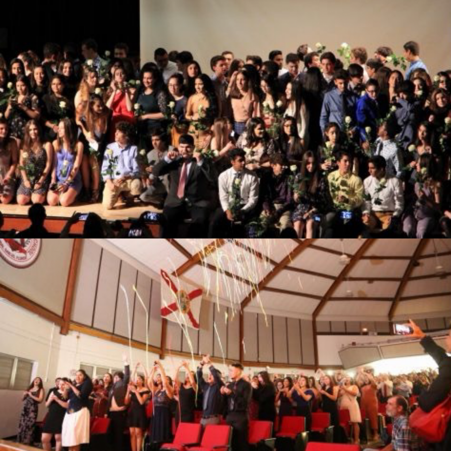The+class+of+2020+at+the+IB+Pinning+and+the+Junior+Ring+Ceremony.