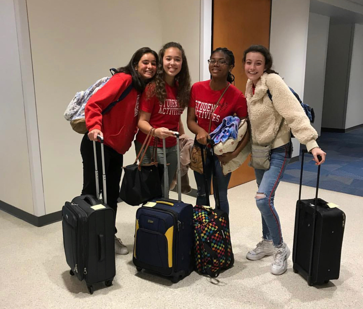 Sophomores  Irene Martinez, Sara Rabell, Sofia Rebull and Imgard Bonheur pose for a picture shortly after arriving on campus.