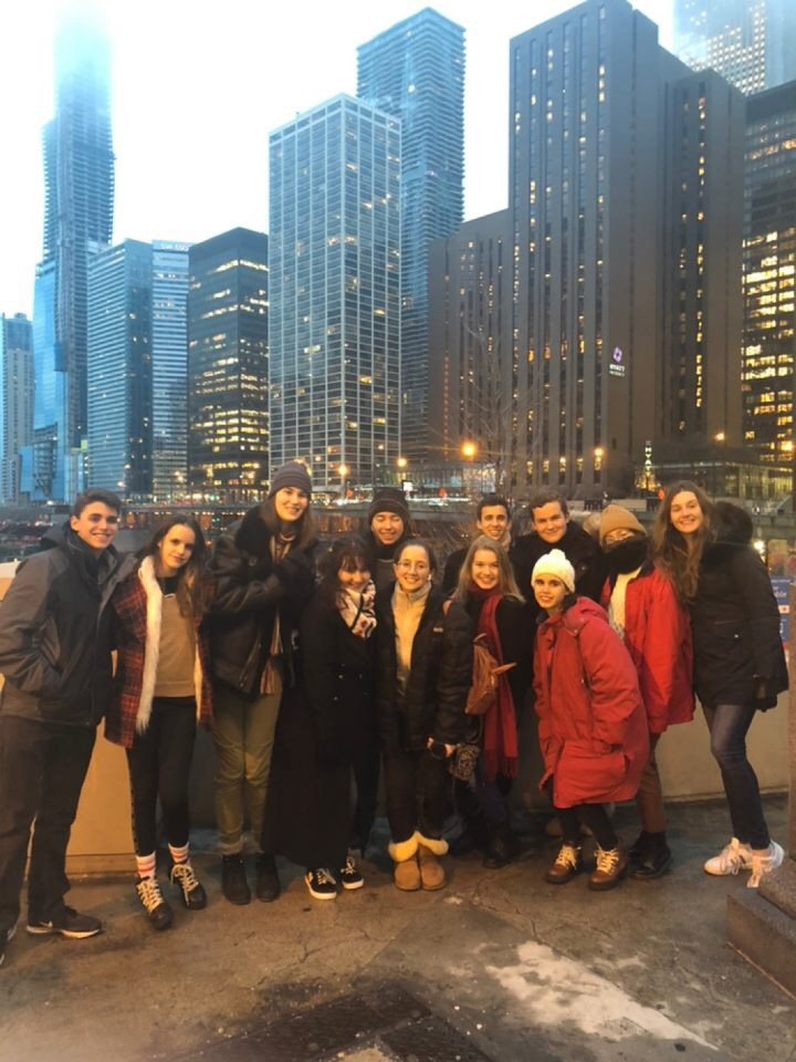 Our Model UN team members pose for a picture in front of the beautiful Chicago skyline