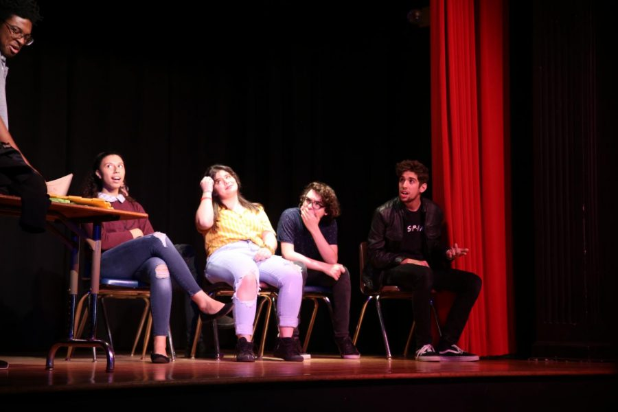 Students performing the scene