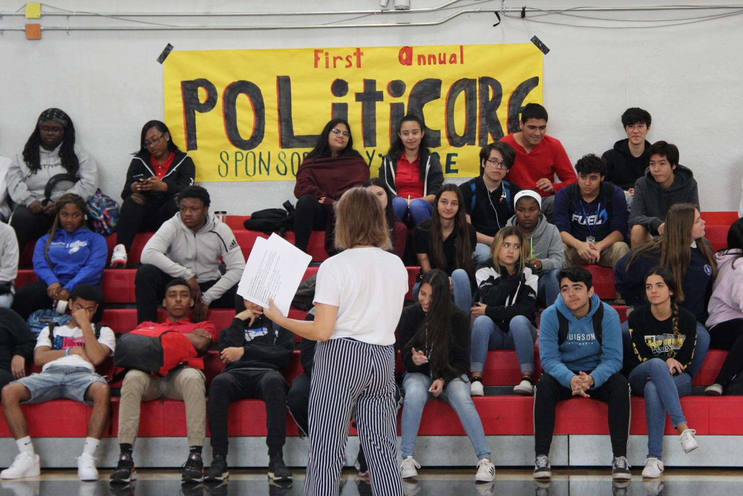 Students listen to one of the several seminars that occurred as part of the Politicare event organized by Gables PACE.