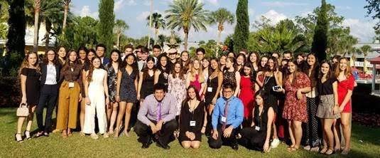 The CAF&DM students dressed to attend the Florida Scholastic Press Association Banquet.