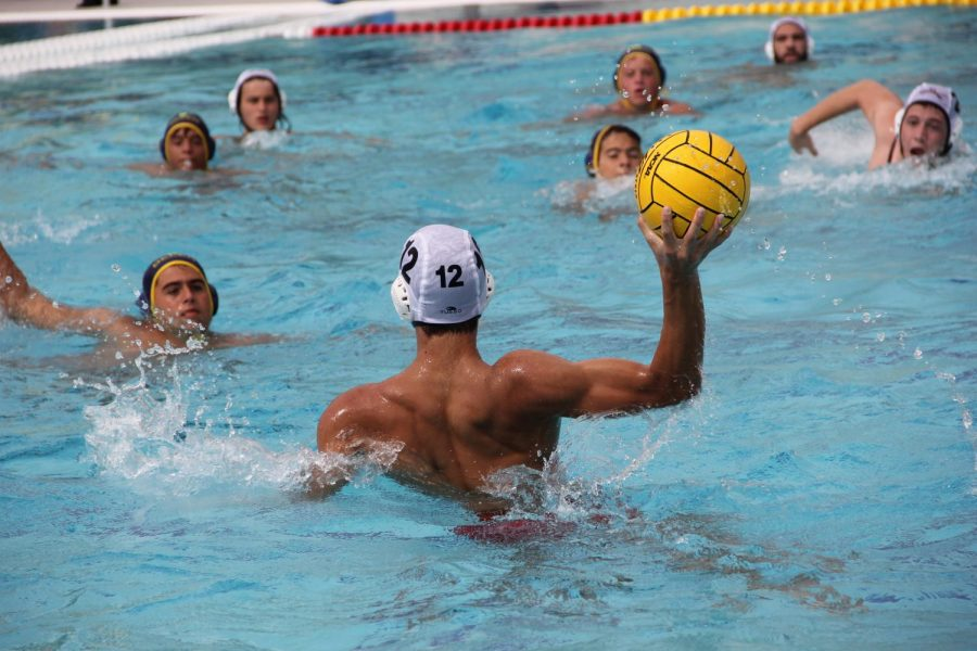A Cavalier Water Polo player aims for his target while lunging out of the water in a Districts meet against Belen.