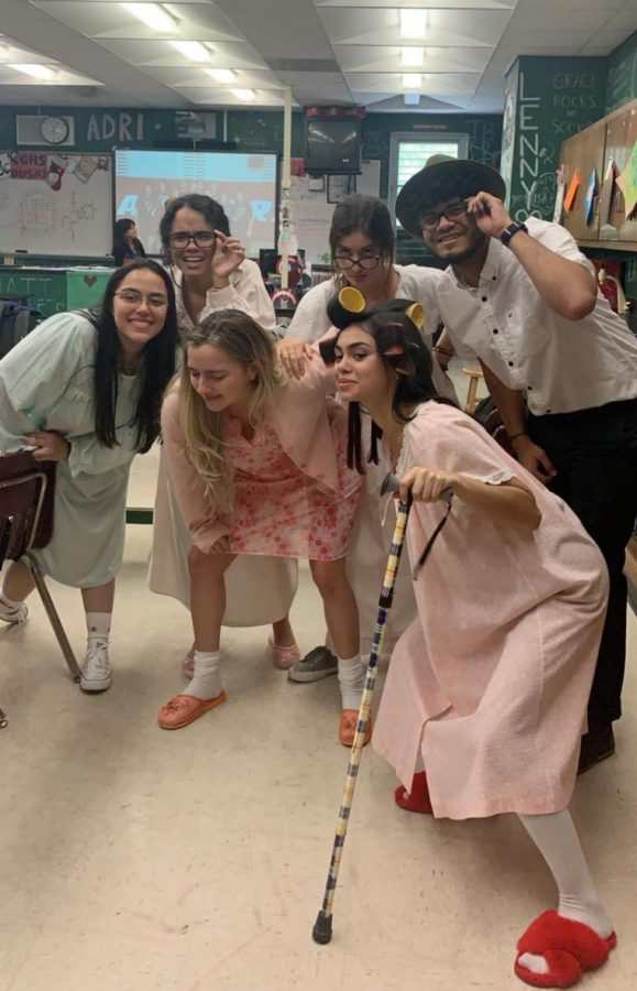 Seniors showing off their senior citizen looks during senior spirit week!
