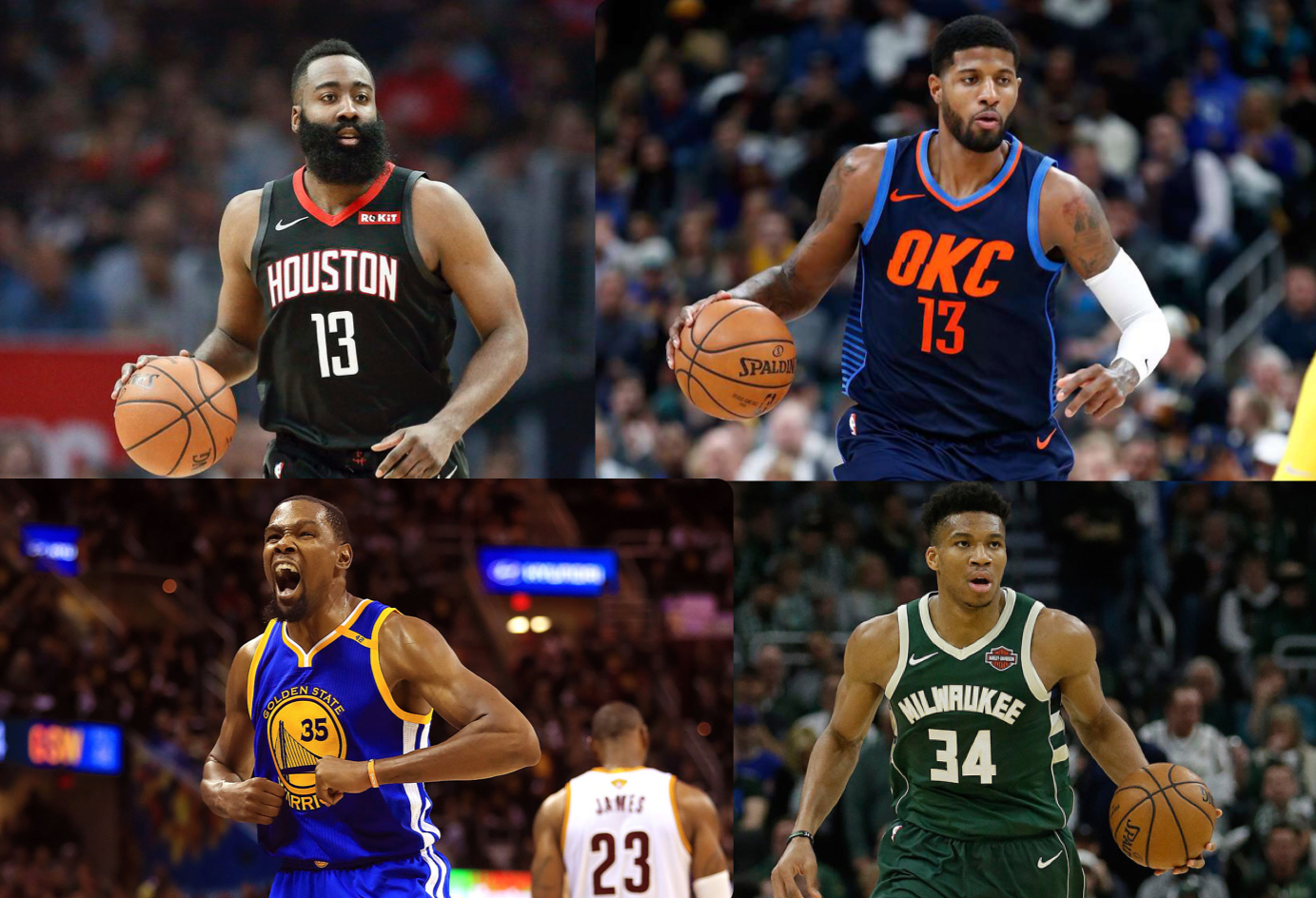 James Harden  (Top Left), Kevin Durant (Bottom Left), Paul George (Top Right), and Giannis Antetokounmpo (Bottom Right), are the four frontrunners for the 2019 NBA MVP award, and each is more than equipped with all the tools necessary to even be considered for the honor.