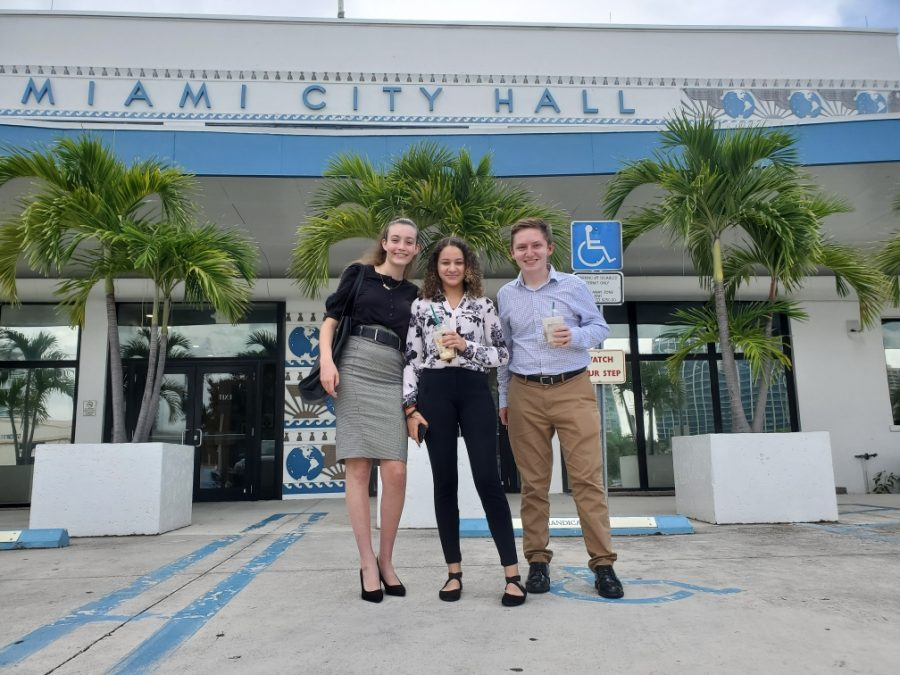 Sofia Rebull in front of Miami City Hall this summer volunteering.