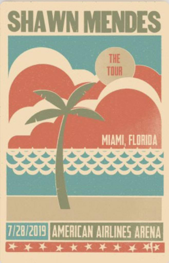 This customized concert poster for the city of Miami not only captivated several characterizing aspects of South Florida, but also excited Shawn Mendes's strong fanbase in Miami.