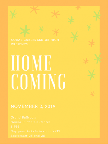 Pictured above is the official Coral Gables Senior High promotional poster for this year's homecoming dance, which will take place at the Donna E. Shalala Center at the University of Miami and will be themed