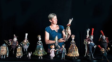 "Georgina Hayns, creative supervisor, puppet fabrication, with the cast from ""The Boxtrolls""."