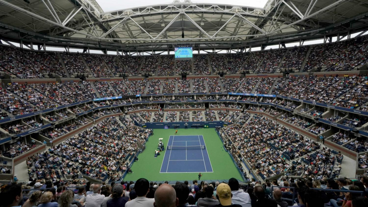 A common sight at Arthur Ashe Stadium as a sold-out crowd watches the best tennis players in the world.