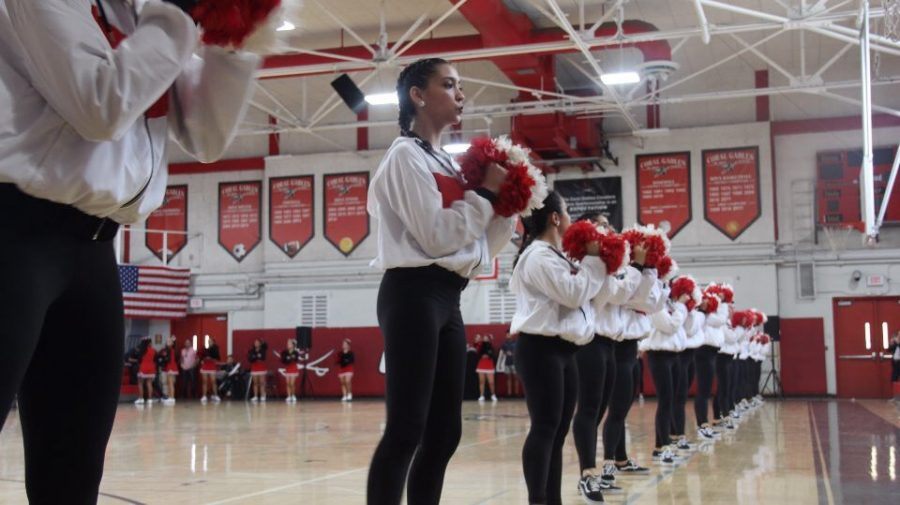 The Gablettes performing on the sidelines before the beginning of the pep rally.