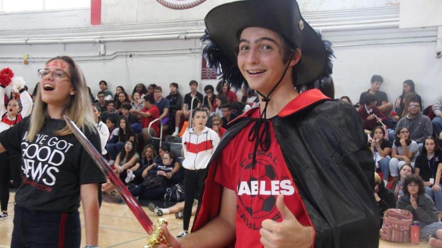 August Field dressed as a Cavalier.