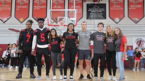Fall Sports team captains at the alma mater pep rally.