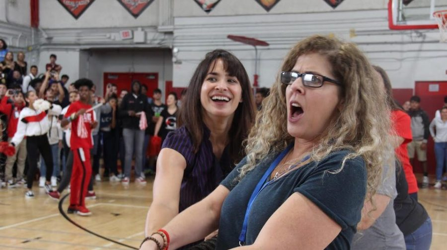 Mrs.Kiely and Ms.Barrow in the teachers tug-of-war.