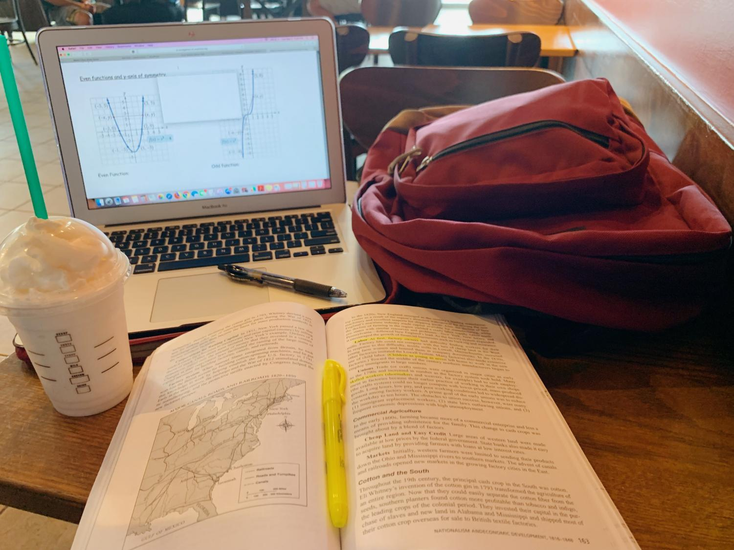Pictured above are typical, and essential, study materials for after-school learning: a backpack, a pencil, notes and a caffeinated drink from Starbucks.