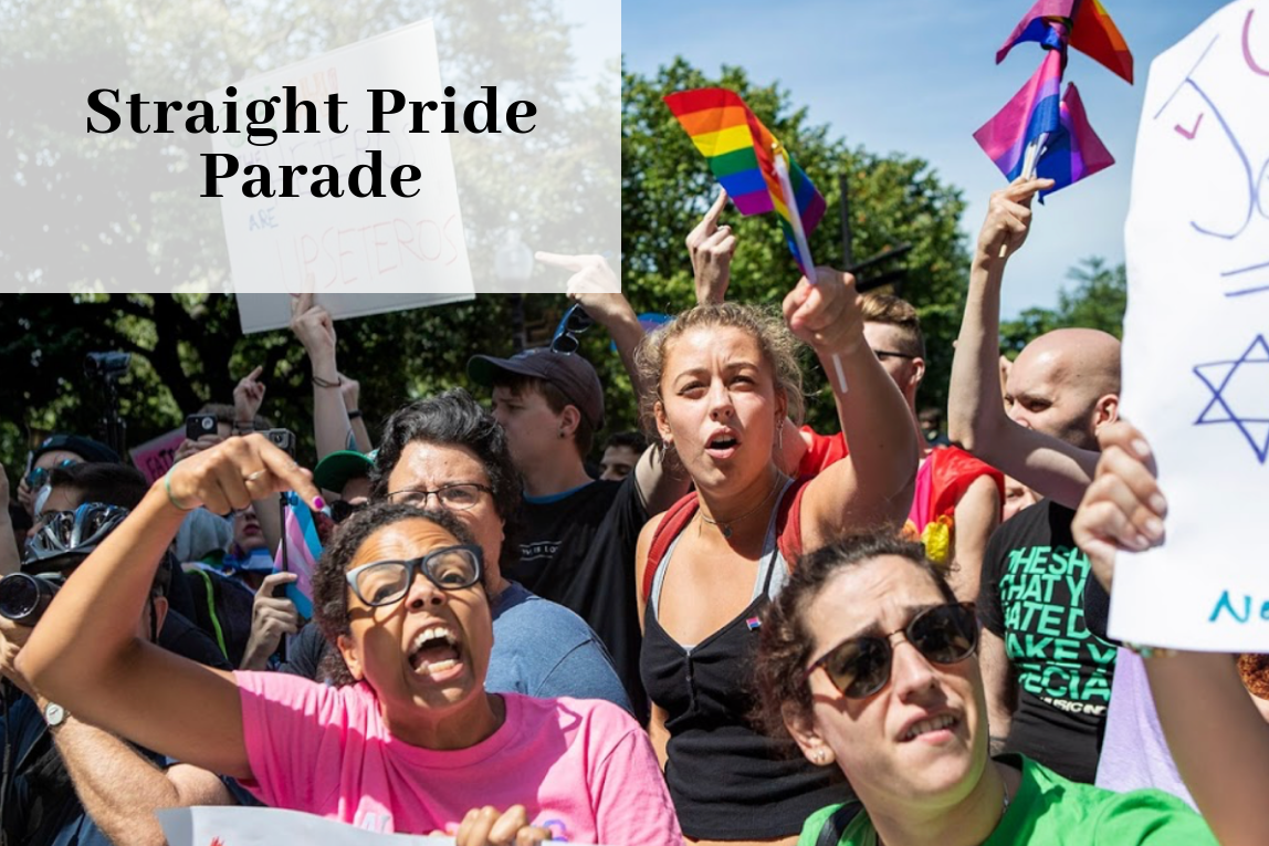 Protesters attending the Straight Pride Parade to oppose the participants' views, in support of the LGBTQ+ community.