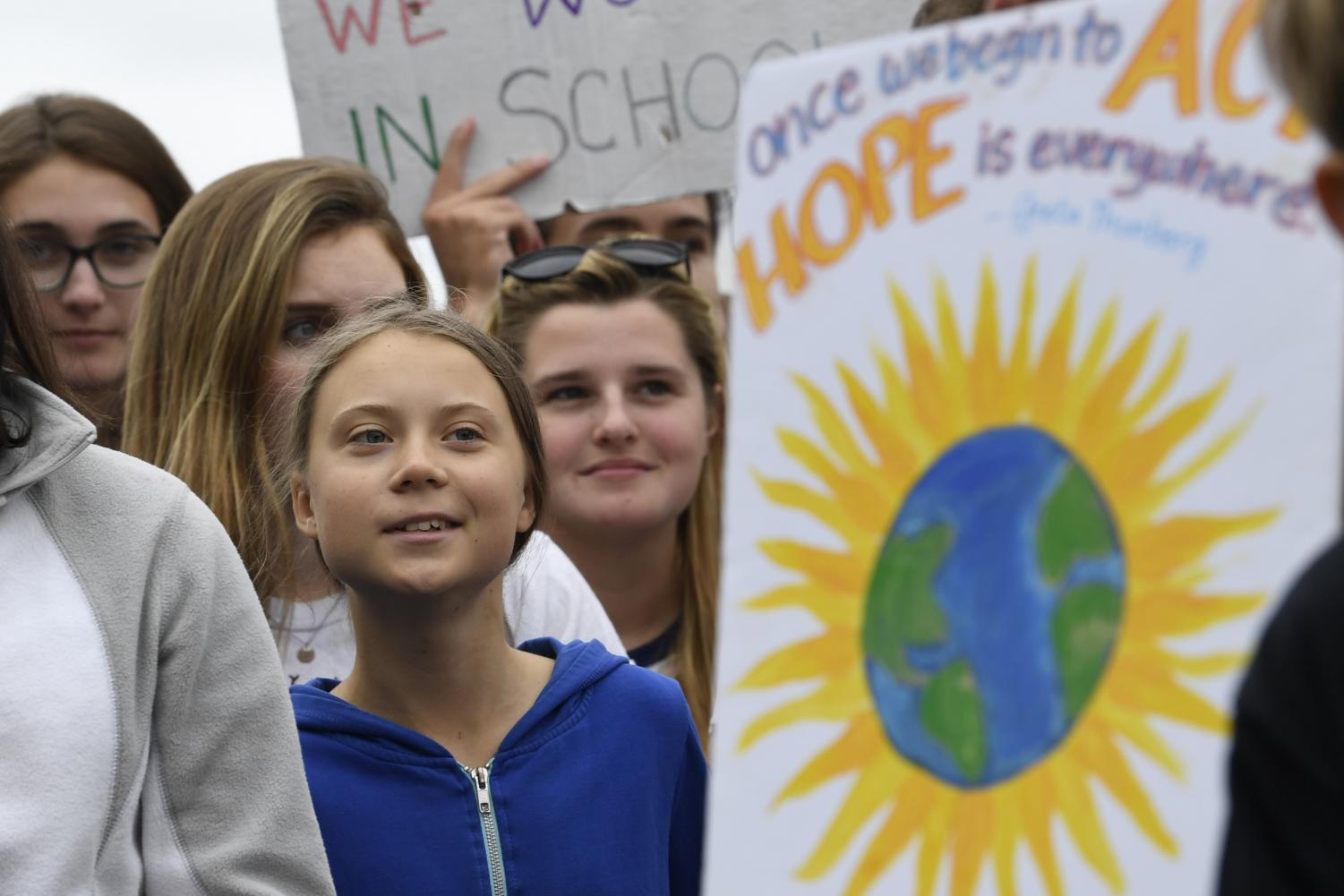 16-year-old climate activist Greta Thunberg attends a climate change protest.