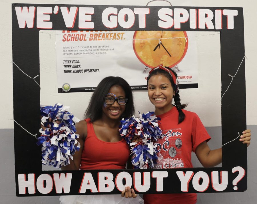 Pom-poms showed off these students' flare on the first day of spirit week.