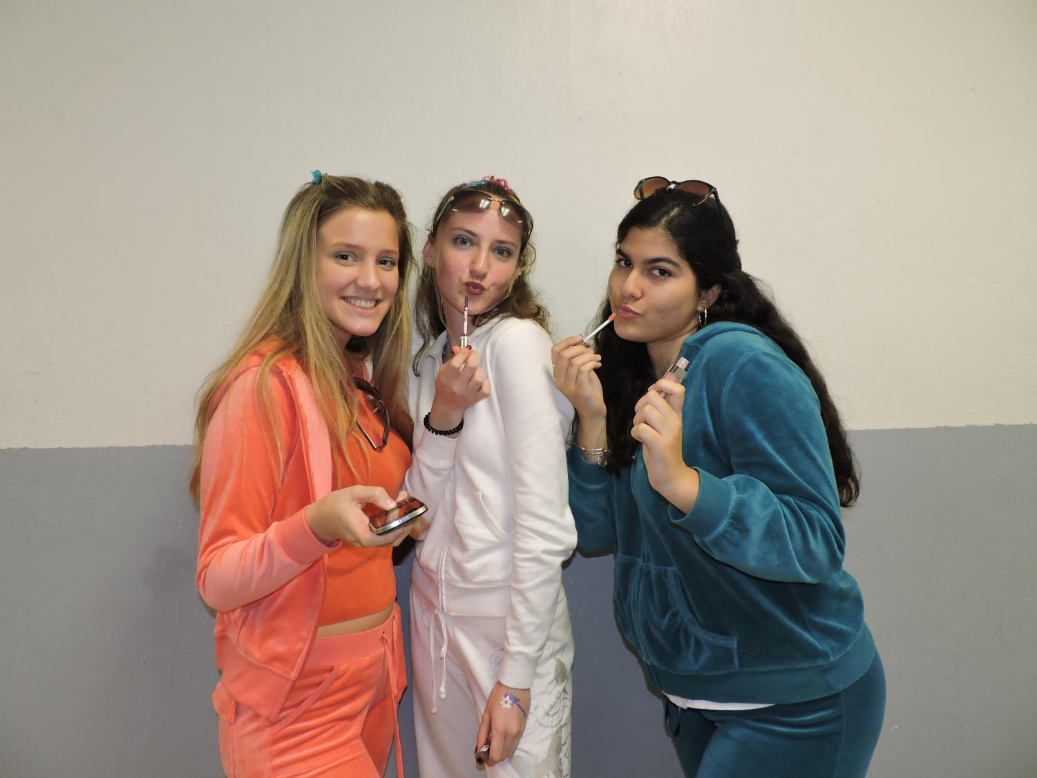 Students pose in their Blast from the Past outfits,
