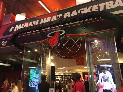 An inside look into the Miami Heat's team store within the American Airlines Arena.