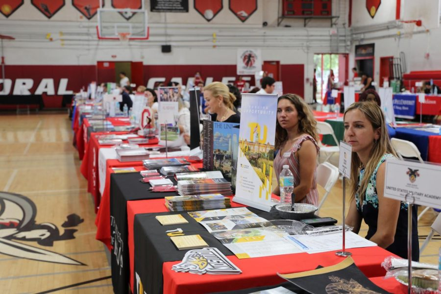 College representatives organized tables full of valuable information based on the schools.