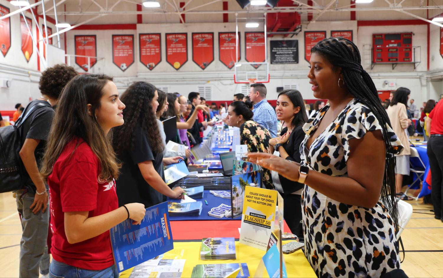 Juniors and Seniors attended the College Fair, which included over 50 college representatives from across the United States.