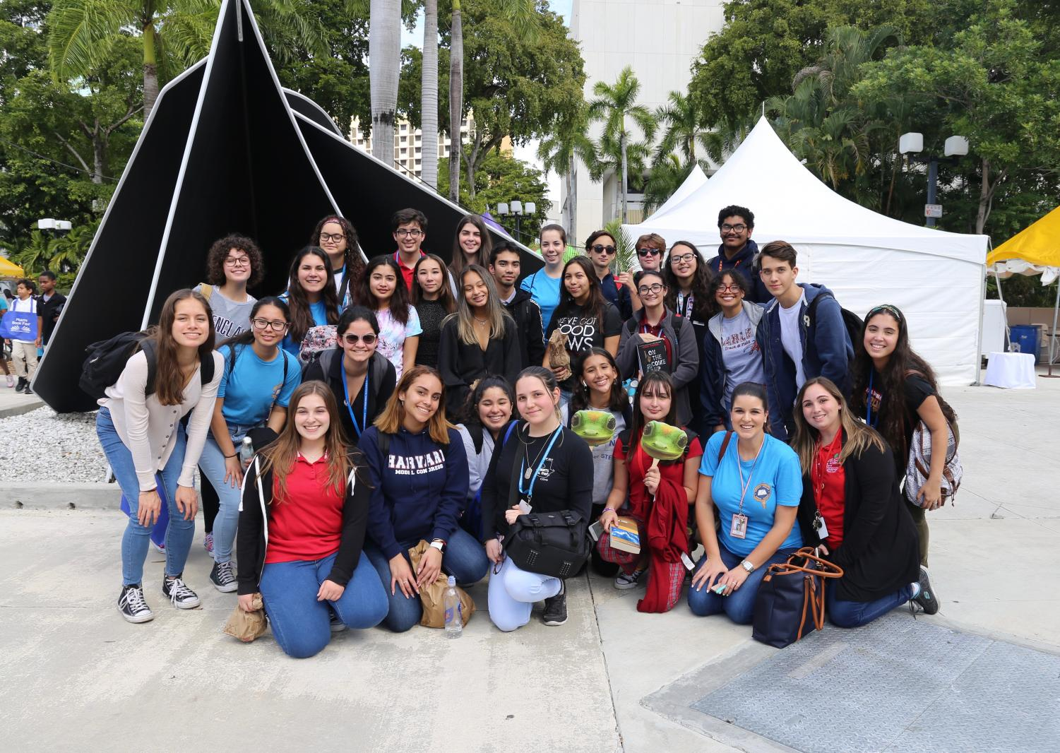 The English Honor Society students posing in the Book Fair.