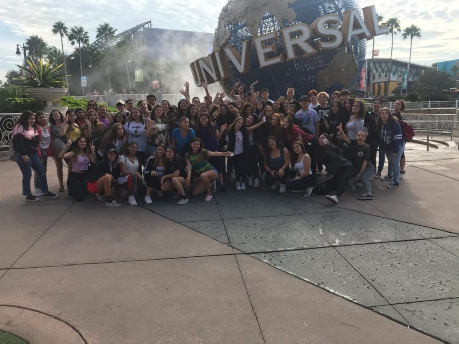 Every sophomore that attended the field trip took a group picture in front of the Universal Studios signature water globe.