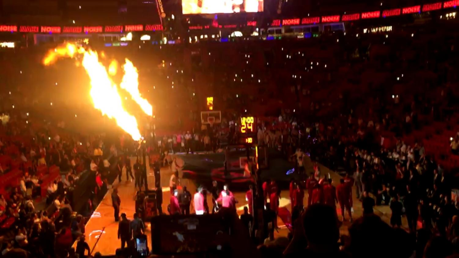 The Americans Airline Arena, home of the Miami Heat, gets fired up before every home game's tip-off.