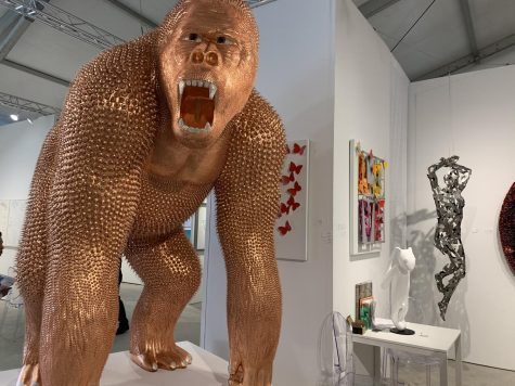 Art Miami+Context included a variety of different works, such as this golden gorilla.