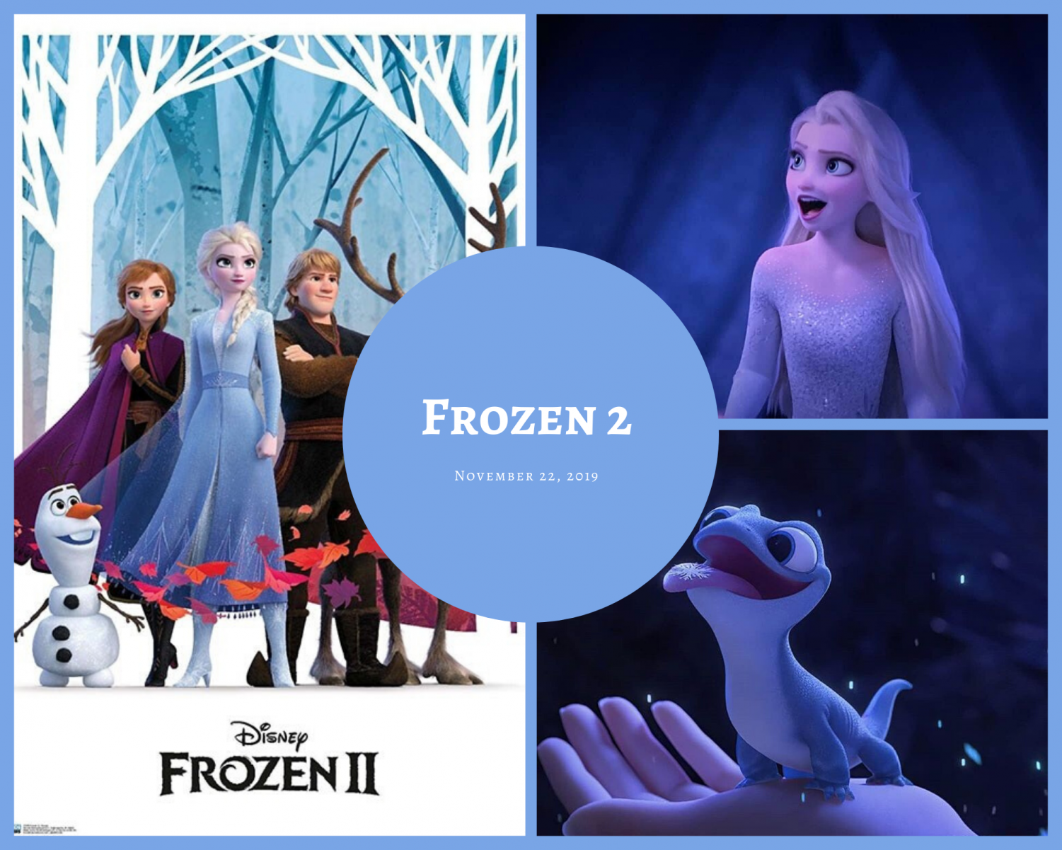 Poster and scenes with previous and new characters in