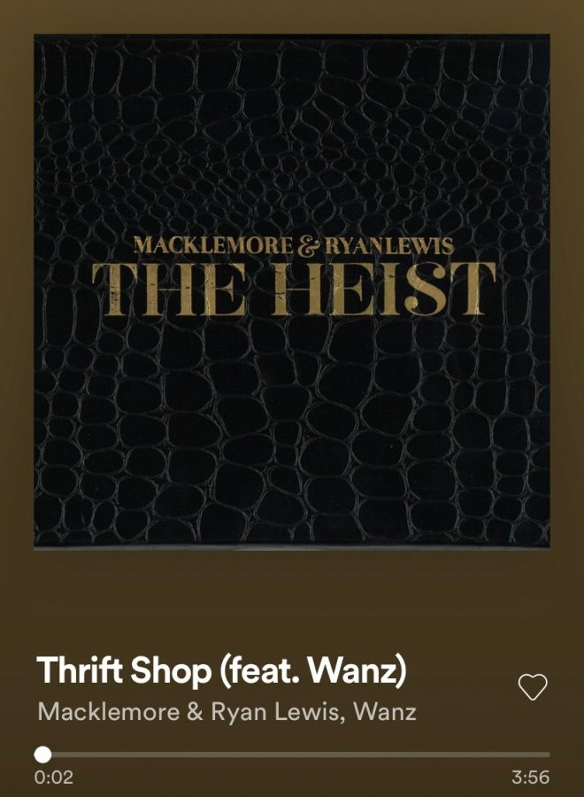 Thrift shop is apart of Macklemores and Ryan Lewis joint album The Heist