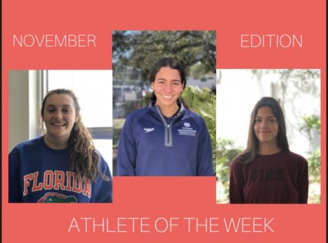 The Athletes of the Week for November are featured above, representing many of the fall and winter season's sports. Iliana Ravelo, Madeline Cohen and Luana Gomes (Maurice Jones is not pictured) all performed exceptionally on the field this month, and they were rewarded for their athletic endeavors with the Cavalier Athlete of the Week award.