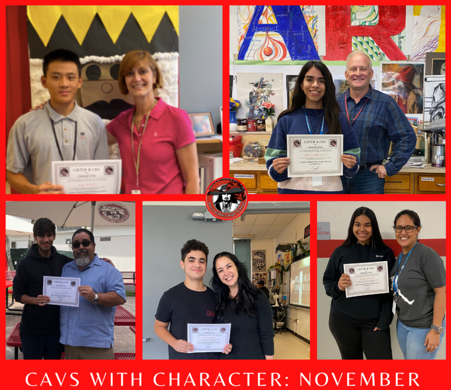 The five students who were recognized as 'Cavs with Character' for the month of Nov.  and the teacher or adminstrator that nominated them.