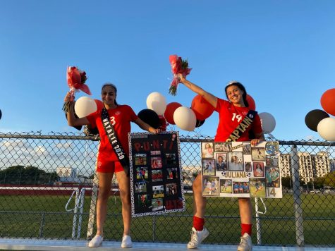 Captains Natalie Puntonet and Juliana Bonavita, in addition to the four other seniors on the Lady Cavalier soccer team celebrate their last home game with posters, crowns, sashes and undying support from their teammates, friends and family.