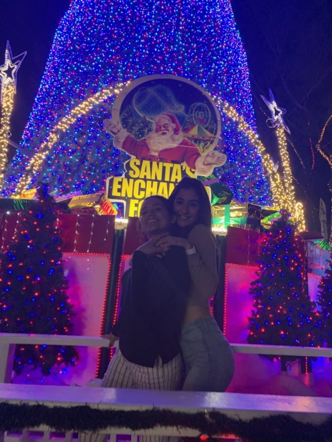 Two friends in front of Santa's Enchanted Forest's famous Christmas tree.