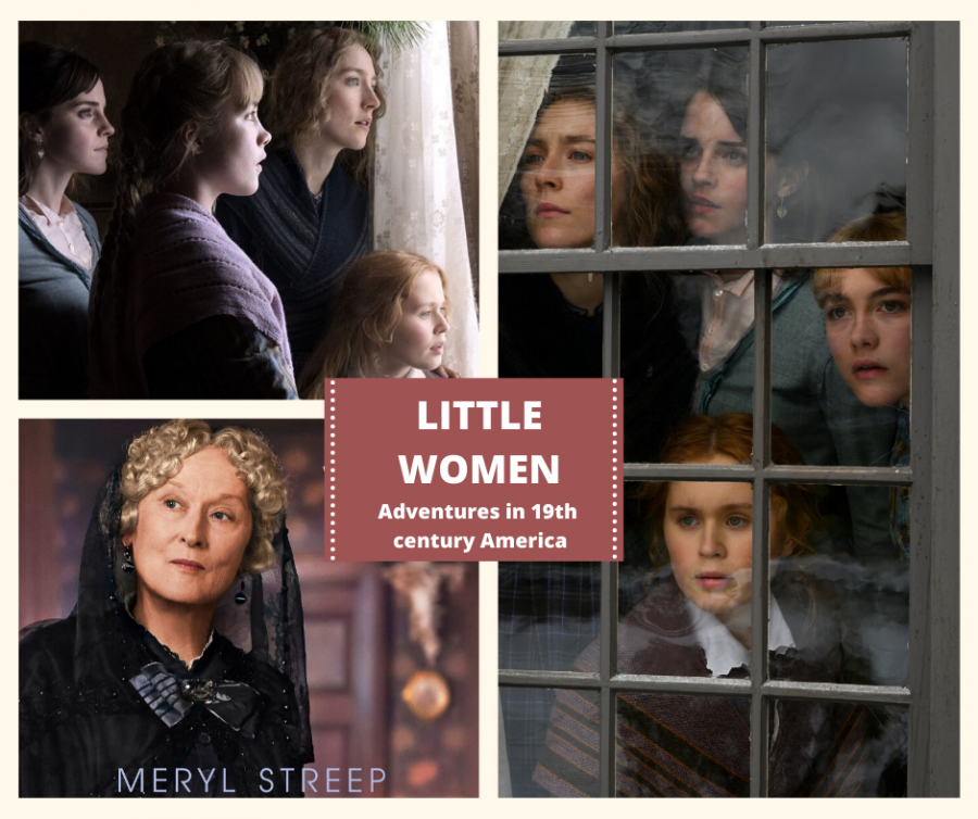 The March sisters, Jo, Beth, Amy, and Meg looking out a window, alongside their Aunt played by Meryl Streep in one of the most iconic poses of the previous adaptations .