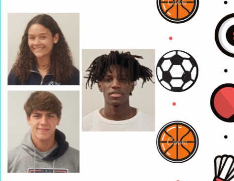 The December athletes of the month, Etienne Montigny (bottom left), Kassandra Mendez (top left), and Desmond Romer (center) have been determined to inspire students in their classrooms, as well as in their respective playing fields.