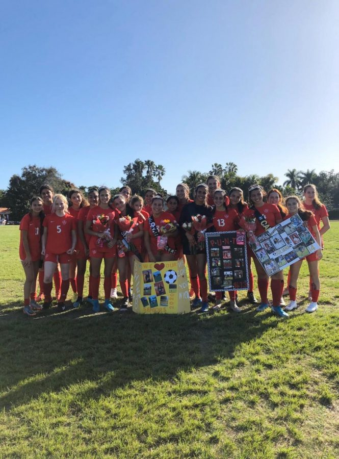 The Gables Girls Varsity Soccer team at their Senior Game versus Southwest, days before their GMAC contest.