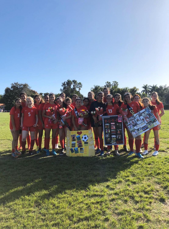 The Gables Girls Varsity Soccer team at their Senior Game versus Southwest, days before their GMAC contest.