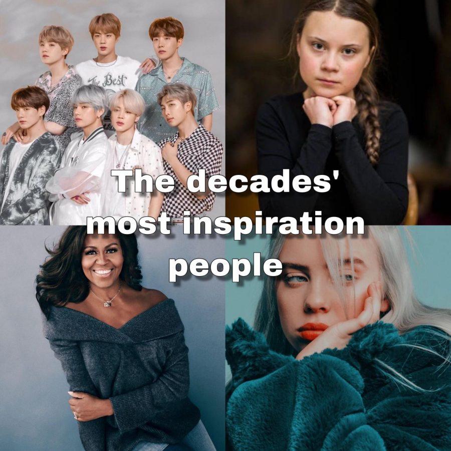 The decades' most inspirational people; BTS, Greta Thunberg, Michelle Obama and Billie Eilish.