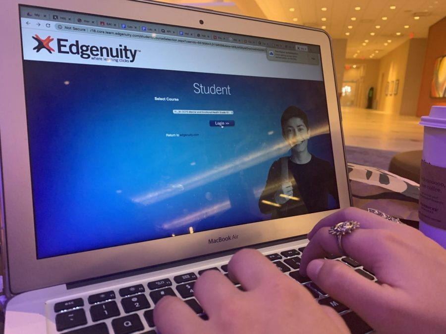 A student begins their Edgenuity assignment as they log in through the student portal.