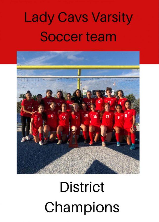 Girls Varsity soccer team at District Finals.