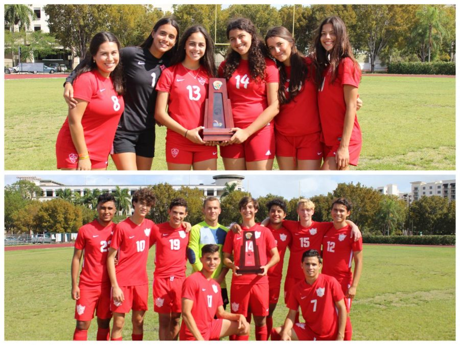 After tough losses in the 2019 district competition, the Cavalier and Lady Cavalier soccer teams bring Gables the district title together for the first time since 1981.