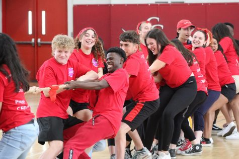 The Communication Arts, Film, and Digital Media (CAF&DM) academy held their annual Field Day. Students participated in a wide range of activities including tug-of-war and hula hoop relays.